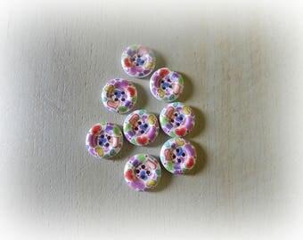 8 patterns heart 18 mm wooden buttons