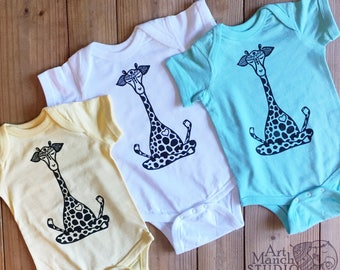 Giraffe Bodysuit, Yoga Baby, Boho onepiece, Baby shower gift, Baby and mommy yoga, yoga baby clothes, Hipster baby, READY TO SHIP