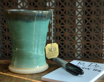 Light Green & Blue Ceramic Cup, wheel thrown