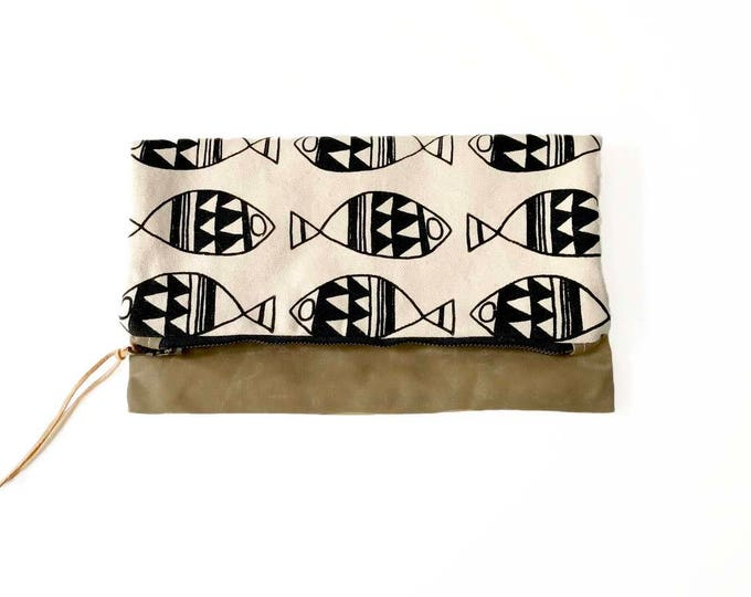 Reversible Waxed Canvas Foldover Clutch - Natural Canvas with Fish Geometric Pattern