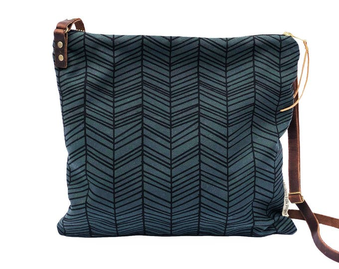 Adjustable Crossbody Bag - Sable Waxed Canvas with Herringbone Pattern