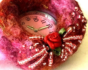 Pink Beaded Red Rose Brooch, Felted and Beaded Nurses Watch Brooch, Original Brooch Gift, OnTrend Style Watch Brooch, Free local Shipping