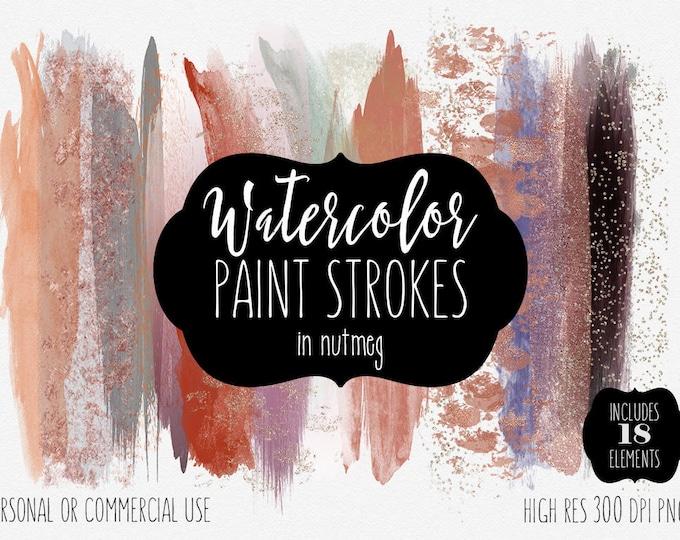 FALL WATERCOLOR BRUSH Strokes Clipart Commercial Use Clip Art Watercolour Blog Headers Peach Rust Copper & Rose Gold Confetti Logo Graphics