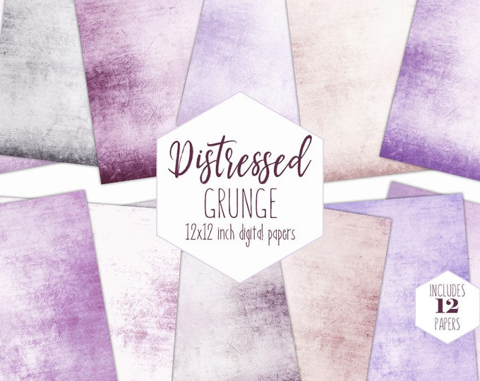 PURPLE GRUNGE Digital Digital Paper Pack Antique Distressed Backgrounds Textured Scrapbook Paper Patterns Party Printable Commercial Use