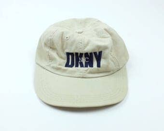 Vintage 90s DKNY Donna Karen New York Hat - Curved Brim Six Panel Dad Hat - Tan NYC Polo Hat
