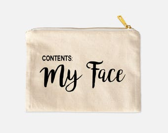 Contents My Face | Cosmetic Bag | Funny Cosmetic Bag | Canvas Makeup Bag