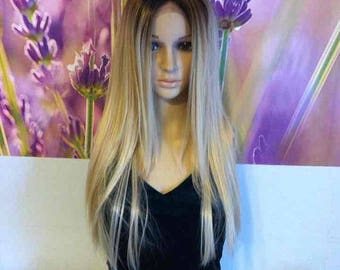 Ombre Dark Roots To 613 Blonde Lace Front Wig 24'' human hair blend