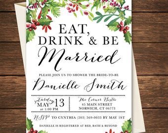 Eat Drink and be Married Bridal Shower Invitation, Christmas Bridal Shower Invitation, Bridal Shower Invitation, Winter Bridal Shower
