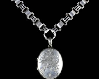 Antique Victorian Silver Locket Collar Circa 1880