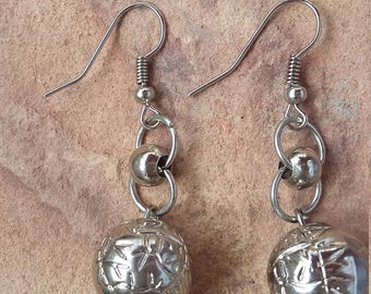 Handmade,beaded,silver,metal,small,simple,light,stylish,fashion,trendy,modern,xmas,party,dance,new year,holiday,elegant,dangle drop,earrings