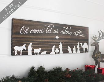 "Wood Nativity Scene, Christmas Nativity, Nativity Sign, Rustic Christmas Decorations, Holiday Wood Signs, Xmas signs, 24"" x 7.25"""