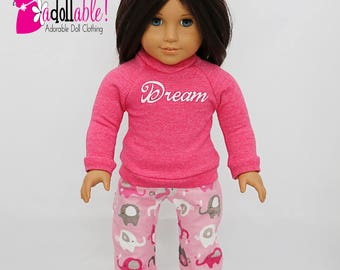 American made Girl Doll Clothes, 18 inch Doll Clothing, Winter Pajama Set made to fit like American girl doll clothes
