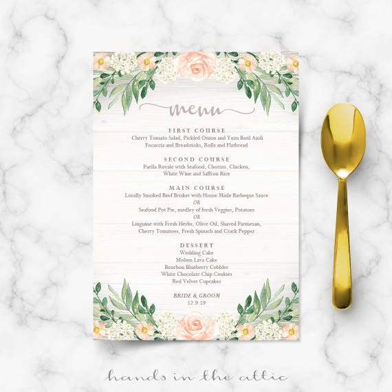 Floral wedding menu template rustic reception wedding for Tea party menu template