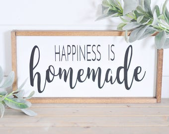 Happiness Is Homemade | Wood Sign | Home Decor | Happiness | Homemade | Kitchen | Living Room | Sign | Farmhouse Style | Rustic | Wood