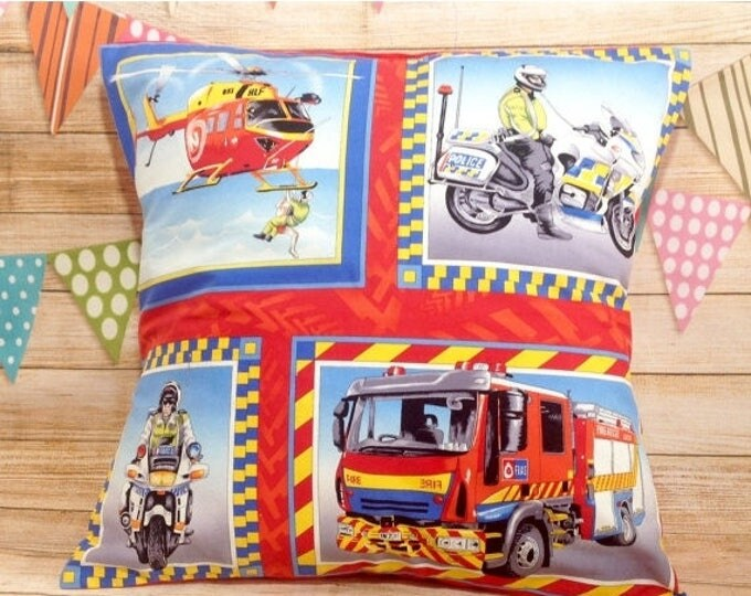 Xmas Cars Cushion Cover, Helicopter, Firetruck, Motorcycle, Boys Room Decor, Boys Cushion Cover