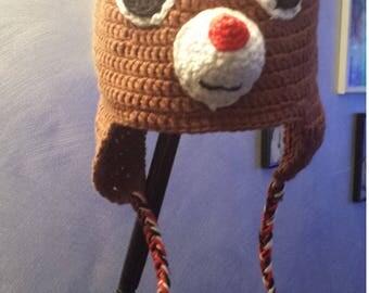 reindeer fleece lined baby bonnet