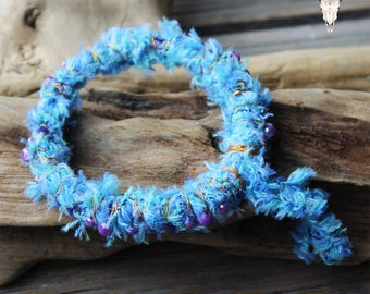 Fabric, Fibre and Wire wrapped Beaded Boho Bracelet