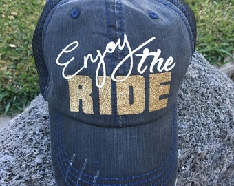 Enjoy the Ride Distressed Trucker Hat women baseball boss babe mom life vacation beach trip party gift bride to be wedding bachelorette