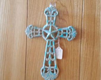 Distress Metal Beige/Blue Cross