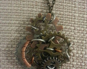 Coil, cog and gear pendant