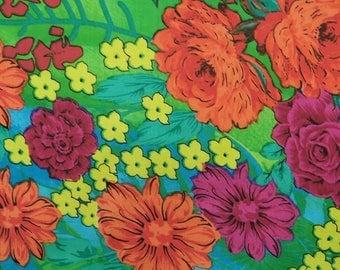 "Floral Print Fabric, Dress Material, Green Decor Fabric, Decorative Fabric, 40"" Inch Cotton Fabric By The Yard ZBC8740A"