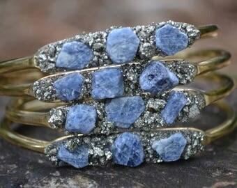 September Birthstone Gift- Sapphire Bracelet, Raw Saphire Cuff Bracelet, Pyrite Bracelet, Birthstone Gift,  Birthday Gift for September,Blue