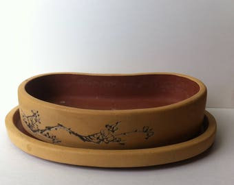 Vintage - Yixing - Tray Planter - Jiangsu - Blossums - Poem