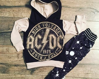ACDC, baby romper, handmade baby onesie, baby bosysuit, custom baby gift, trendy toddler clothes, rock music, t-shirt romper, baby