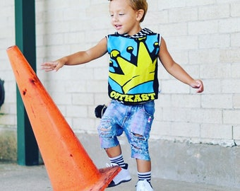 Outcast, baby rompers, handmade baby clothes, baby bodysuit, custom baby clothes, trendy toddler clothes, rock music, rock band