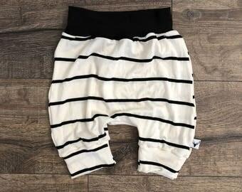 Harem Shorts, baby shorts, kids shorts, beach wear, bummies, boys shorts, off white stripe, hip apparel, kids apparel, knit short