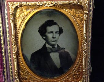 Antique 1/6th Ambrotype Photograph handsome young man