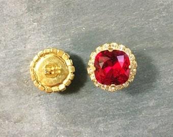 Ruby Red Earrings - Swarovski Crystal Bright Red Square Stud Earrings - Red Bridesmaid -  Garnet Earrings - Bridal Red Swarovski Earrings