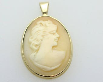 Shell Cameo Pendant with solid 14k yellow Gold bezel