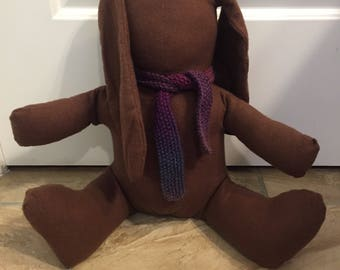 Stuffed Brown Bunny with Knitted Scarf