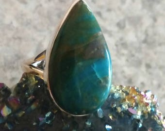 Genuine Peruvian Blue Opal  Ring, Size 7