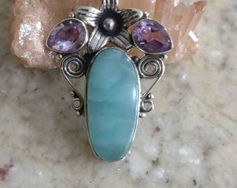 Larimar and Amethyst Pendant Necklace