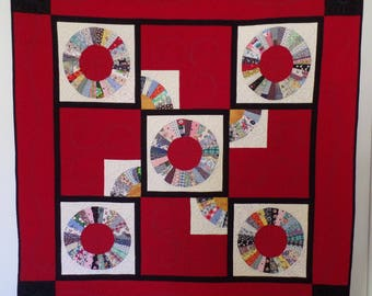 Modern Upcycle Quilt, Contemporary Quilt, Red Quilt, Oriental Fan Quilt, Throw or Lap Quilt, Christmas or Birthday Gift, Free Shipping