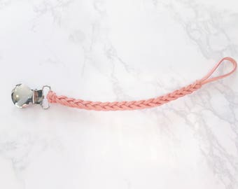 Peach Braided Pacifier Clip / Paci Clip / Faux Leather / Macie and Me