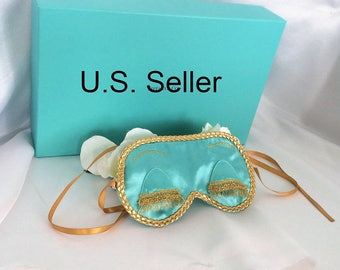 Holly Golightly - Breakfast at Tiffany's inspired satin sleep mask blind fold with eyelashes - Audrey Hepburn - Tiffany