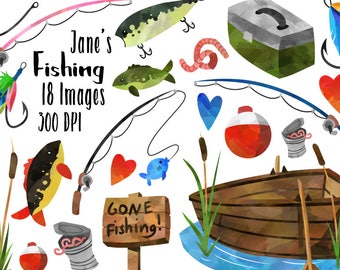 Fishing Clipart - Fishing Items Download - Instant Download - Watercolor Fishing Supplies - Lures - Rods - Boat