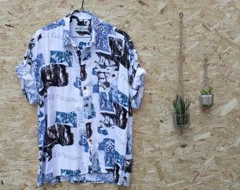 Vintage Geometric Short-Sleeved Summer Shirt | Size L