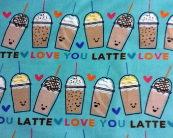 Coffee theme/Latte on teal background flannel pajama pant