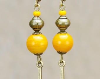 "Orange ""Anita"" porcelain beads bronze earrings"
