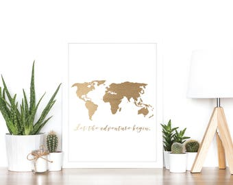 Let the Adventure Begin (World Map) - Rose Gold Foil Print