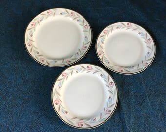 Vintage Eggshell Nautilus Nantucket Salad Plate & 2 Bread Plates, Homer Laughlin