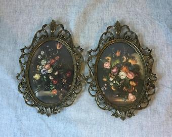Vintage Convex Glass Filigree Floral Frames, Set of 2