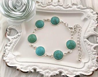 Turquoise Bracelet, Bracelet, Women's Bracelet, Silver Bracelet, Turquoise Charm Bracelet, Girls Bracelet, Christmas Bracelet, For Her