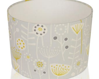 Fryetts Bergen Scandi flower Light Grey and Mustard  Cotton Print Lampshade,Ceiling Pendant,Table Lamp