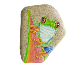 Handpainted rock to hang with a red-eyed tree frog