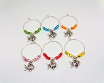 Goldfish Wine Glass Charms, Goldfish Wine Glass Markers